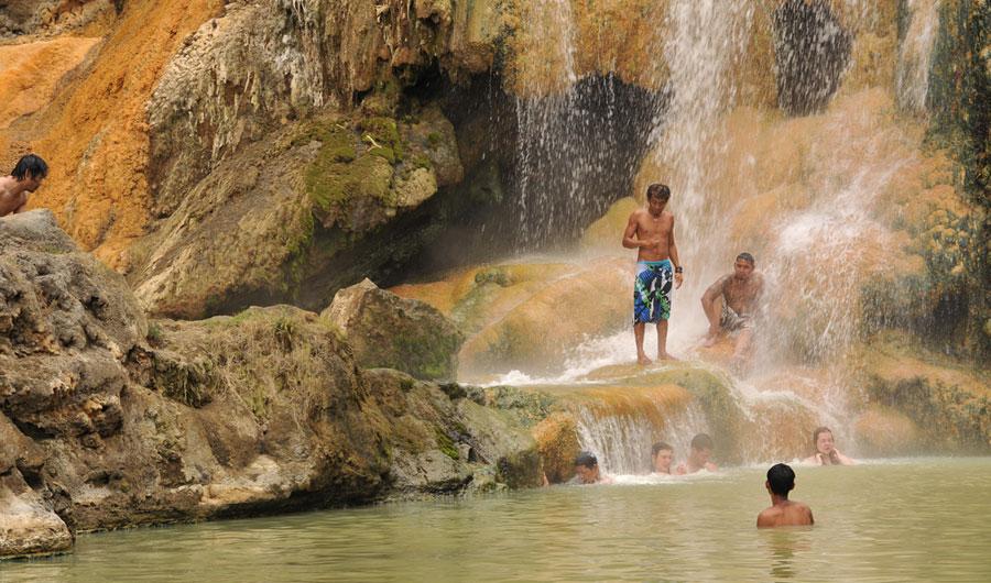 Hot spring close Lake Segara Anak Mount Rinjani