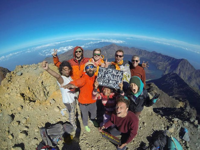 Summit mount Rinjani altitude 3726 meters