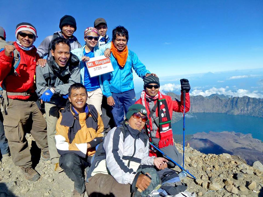 Peak of mount Rinjani altitude 3726 meters